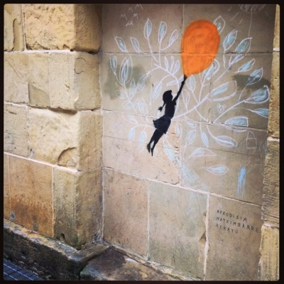 Street art in San Sebastian near the museum.