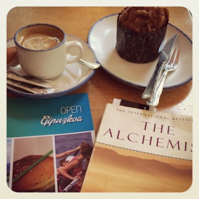 A cortado and The Alchemist (Photo © Christina Saylor)