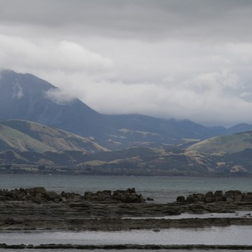 Looking across the sea on the Kaikoura Peninsula after sliding down to the coast