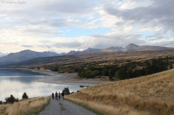 Walking down to Lake Pukaki from Braemar Station