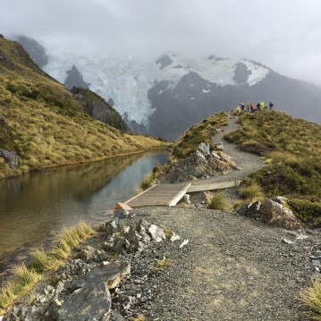 Heading up the Mueller Ridge in Aoraki/Mt. Cook National Park