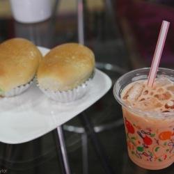 Thai iced tea and green custard buns