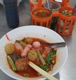 Sen yai yen ta foo tom yum (a type of fishball noodle soup)