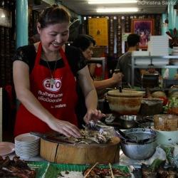 The smiling chef at Yum Rod Sab in Bangkok