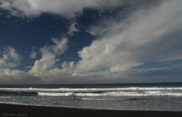 A long steep walk down led to the black sands of windy Waipi'o Beach on the Big Island