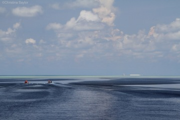 Dive boats returning to the Discovery Fleet ship in Tubbataha Reefs Natural Park