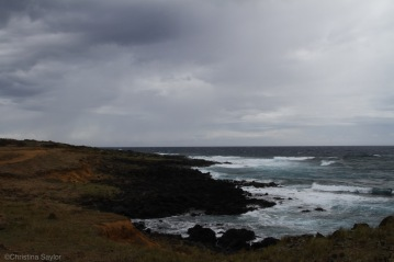 Rocky coast where lava once flowed into the sea
