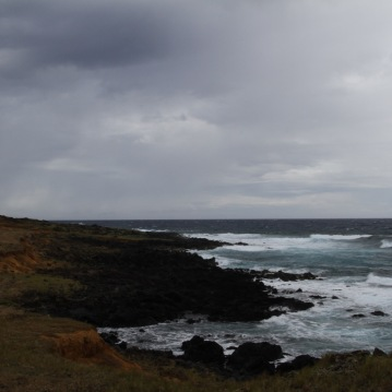 Rocky coast where lava once flowed into the sea