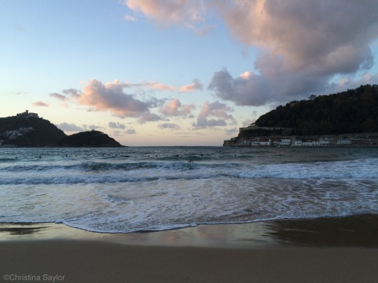 Surfers in November on San Sebastian Beach