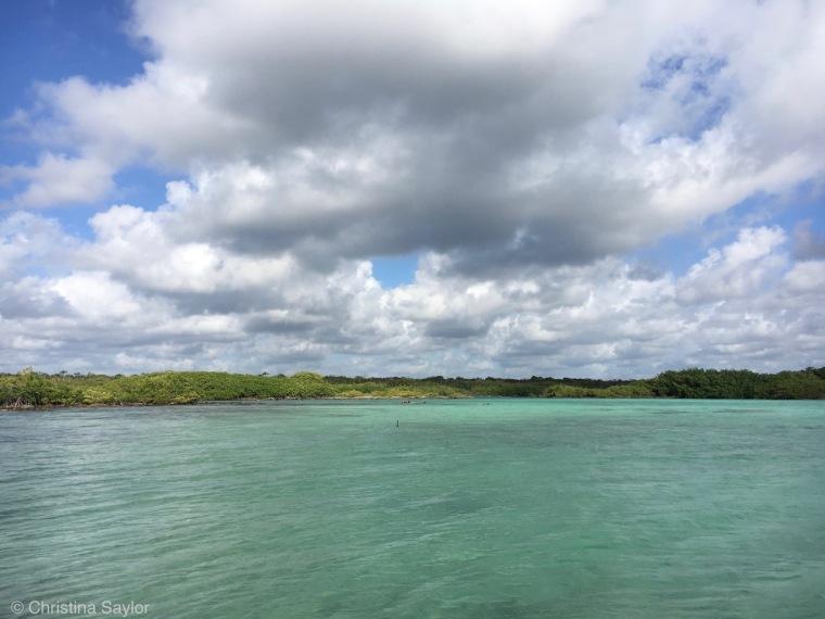 Looking toward Yal Ku lagoon from the rocky shore