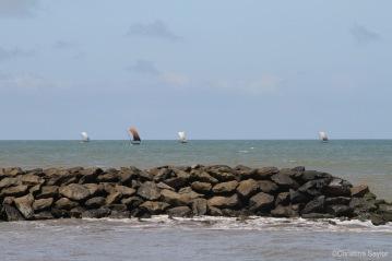 Sailing ships off the coast near Galle