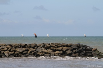 Sailing ships off the coast near Galle