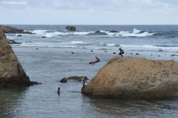 Boys jumping into the sea near Galle