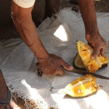 A generous host cutting a jackfruit for his guests