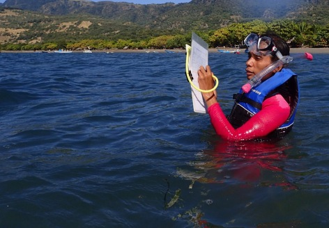 Monda Costa recording data during a seagrass survey