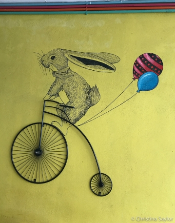 Whimsy on the wall of Wheeler's Coffee in Georgetown, Penang