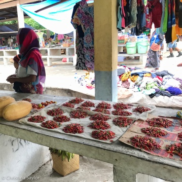 From shirts to chiles at the Saturday market in Beloi Village